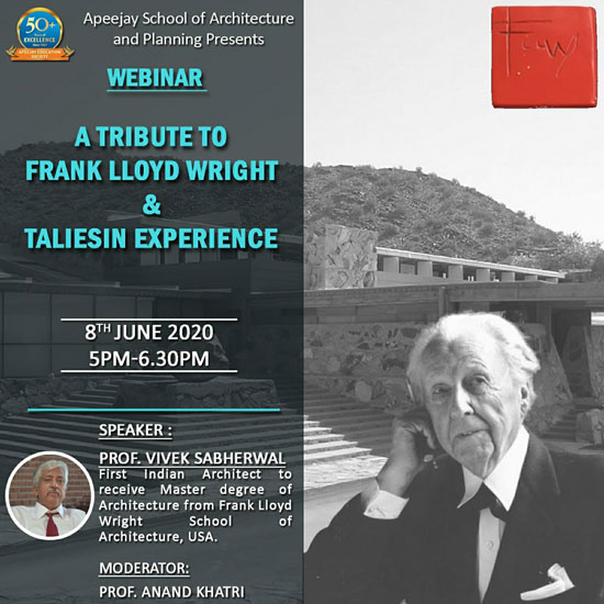 A Tribute To Frank Lloyd Wright & Talies In Experience